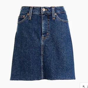 J. Crew Raw edge denim mini skirt jean size 6